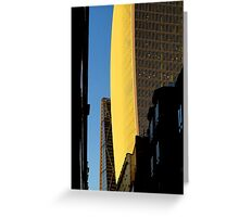 Narrow street and skyscrapers Greeting Card