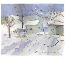 Winter village landscape Poster