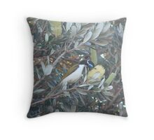 Blue Jay & Banksia Throw Pillow
