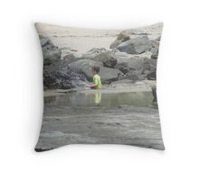 Boy at the Bluff Throw Pillow