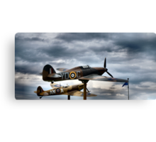 Two WW II Planes On Display - 2 Canvas Print