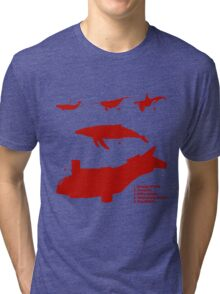 Whale Comparison Chart, TR alternate version (brighter red.) Tri-blend T-Shirt