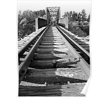 Black and White Disused Railway Bridge Poster