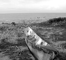 Canoe Beached on the Sand, Solomon Islands by Peter Clements