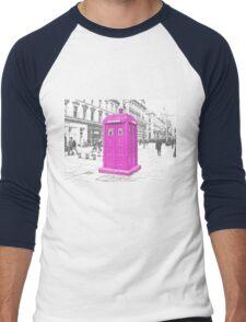 Pink Tardis  Men's Baseball ¾ T-Shirt