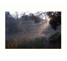Fog over Ringwood Lake Art Print