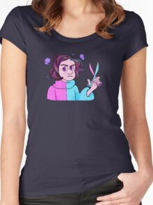 Angry Vampire Girl With Scissors Women's Fitted Scoop T-Shirt