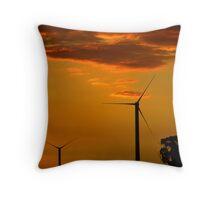Windfarm at Sunset Throw Pillow