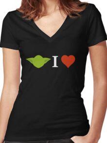 Yoda I Love (black) Women's Fitted V-Neck T-Shirt