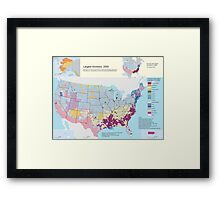 Top US Ancestries by county Map Framed Print
