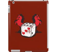 Red rearing rockabilly horses with dice distressed  iPad Case/Skin