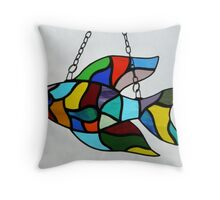 Stained Glass Fish (2) Throw Pillow