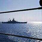 USS Wisconsin from the deck of the Antietam by Bryan Peterson