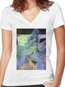 SIT DOWN. Women's Fitted V-Neck T-Shirt