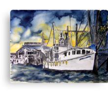 Tybee Island Georgia Shrimp Boat Nautical Art Canvas Print