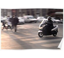 Moped in Paris Poster