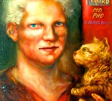 Portrait of Dr Isabel Wright & Her Cat, Ripple by Barbara Sparhawk