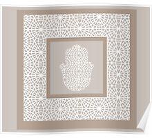 Hamsa in morrocan pattern Poster
