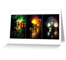Fireworks and water. Triptych Greeting Card