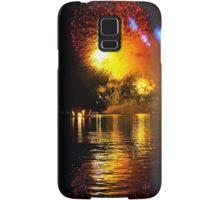 Fireworks and water. Triptych Samsung Galaxy Case/Skin