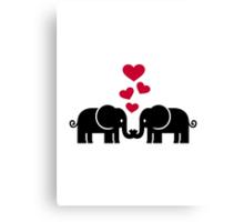 Elephants love red hearts Canvas Print