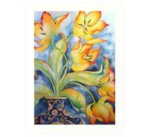 Parrot Tulips in Vintage Vase 'Still Life' © Patricia Vannucci 2008 Art Print
