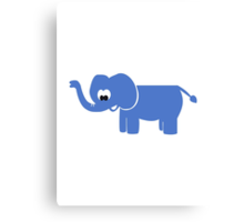 Blue comic elephant Canvas Print