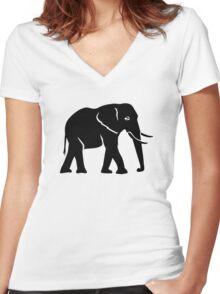 Black elephant Women's Fitted V-Neck T-Shirt