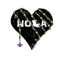 NOLA Heart Wrapped in Mardi Gras Beads by StudioBlack
