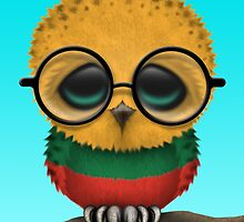 Nerdy Lithuanian Baby Owl on a Branch by Jeff Bartels