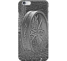 Wagon Wheel Black and White Gray Old Antique Abandoned Photograph iPhone Case/Skin