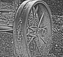 Wagon Wheel Black and White Gray Old Antique Abandoned Photograph by Adri Turner