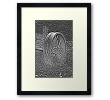 Wagon Wheel Black and White Gray Old Antique Abandoned Photograph Framed Print