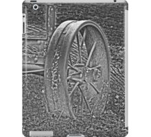 Wagon Wheel Black and White Gray Old Antique Abandoned Photograph iPad Case/Skin