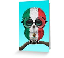 Nerdy Mexican Baby Owl on a Branch Greeting Card