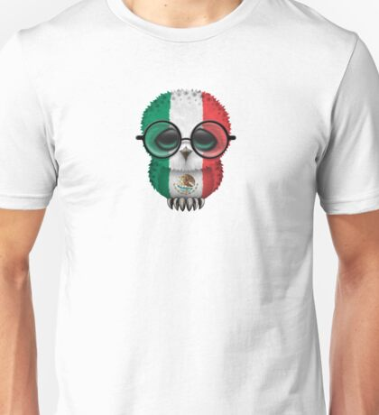Nerdy Mexican Baby Owl on a Branch Unisex T-Shirt