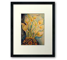 Arum Lilies in Vintage Vase 'Still Life' © Patricia Vannucci 2008 Framed Print