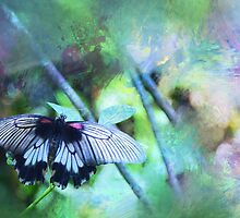 Pastel Impressions of Butterfly in Blue, Green, and Purple by Carla Parris