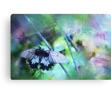 Pastel Impressions of Butterfly in Blue, Green, and Purple Canvas Print