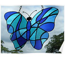 Stained Glass Butterfly (Blues) Poster