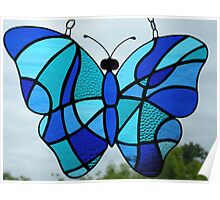 Stained Glass Butterfly (Blues) 2 Poster