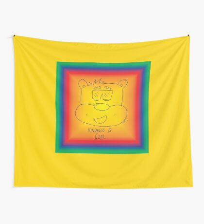 Kindness Is Cool - Rainbow Wall Tapestry