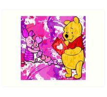 Pooh & Piglet Valentine Art Print
