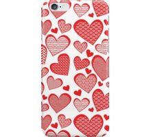 Red Patterned Hearts iPhone Case/Skin