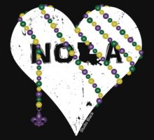 NOLA Heart Wrapped in Mardi Gras Beads (white) Kids Clothes
