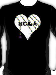 NOLA Heart Wrapped in Mardi Gras Beads (white) T-Shirt