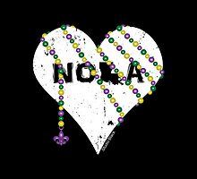 NOLA Heart Wrapped in Mardi Gras Beads (white) by StudioBlack