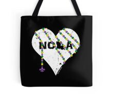 NOLA Heart Wrapped in Mardi Gras Beads (white) Tote Bag