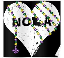 NOLA Heart Wrapped in Mardi Gras Beads (white) Poster