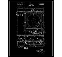 Record Player Patent - Black Photographic Print